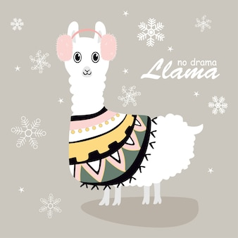 Cute and beautiful llamas with snow
