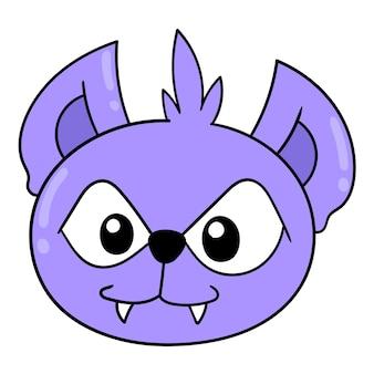 Симпатичная и красивая фиолетовая голова коалы, векторные иллюстрации картонный смайлик. рисунок значок каракули