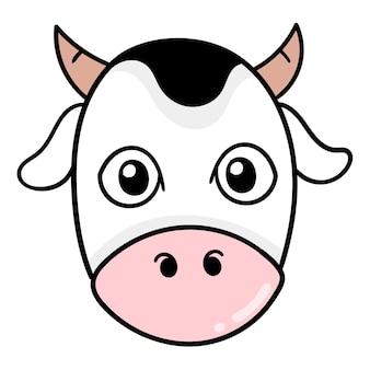 Милая и милая голова животного коровы, векторные иллюстрации картонный смайлик. рисунок значок каракули