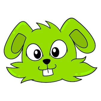 Милая и милая зеленая голова животного, векторные иллюстрации картонный смайлик. рисунок значок каракули