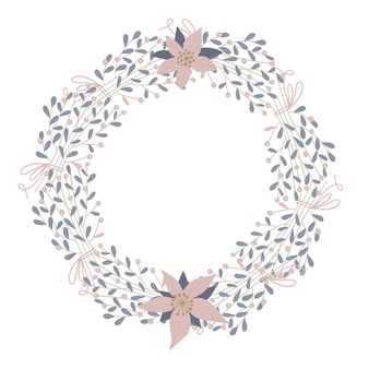 귀엽고 우아한 벡터 꽃 라운드 프레임. 파스텔 톤 식물 원 겨울 배지 및 상징. 크리스마스 화환. hygge 스타일의 플랫.