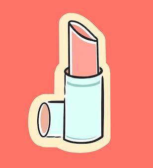 キュートでファッショナブルな女の子の口紅ベクトル漫画イラスト