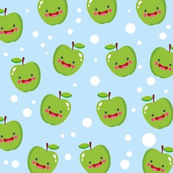 キュートで面白いリンゴの笑顔のパターン