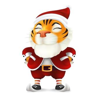 중국 동부 달력으로 올해의 상징인 산타 의상을 입은 귀엽고 재미있는 만화 호랑이 캐릭터. 흰색 배경에 고립 된 크리스마스 옷에 웃는 마스코트의 벡터 일러스트 레이 션
