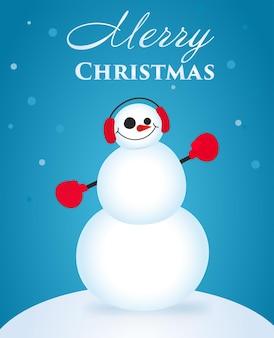 かわいくて面白いクリスマスカード。キャラクター雪だるま。ベクトルイラスト。