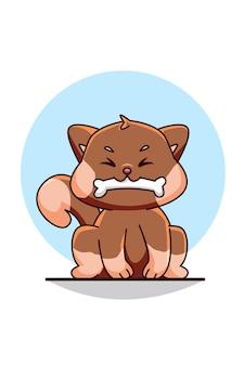 キュートで面白い犬と骨のデザインの漫画イラスト