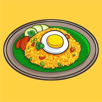 Милый и забавный жареный рис или «наси горенг», традиционная вкусная еда из индонезии.