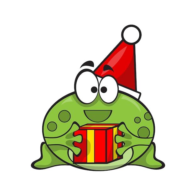 Милая и забавная лягушка в шляпе санта-клауса с подарком на рождество - вектор