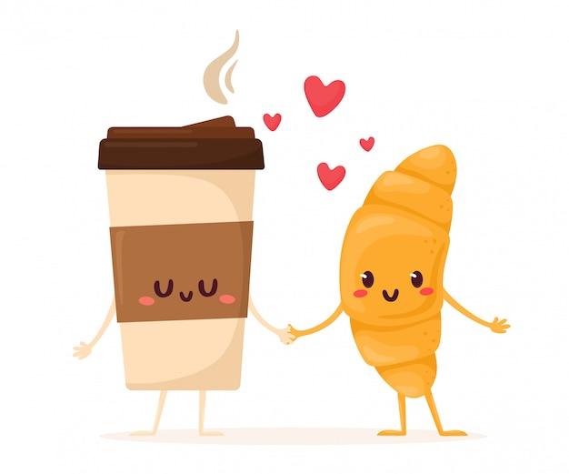 Милый и смешной горячий кофе и круассан. иллюстрация в плоском мультяшном стиле.