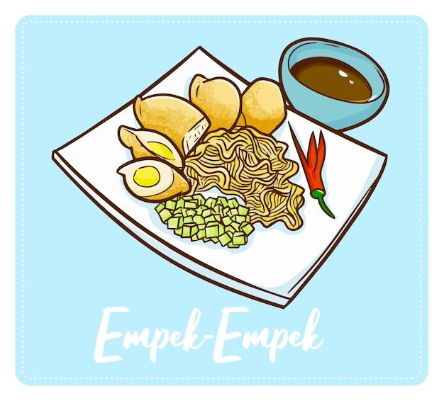 Симпатичная и веселая индонезийская кухня «эмпек-эмпек». традиционная еда из палембанга, южная суматера. сделано из рыбы, муки и многих специй и очень вкусное.