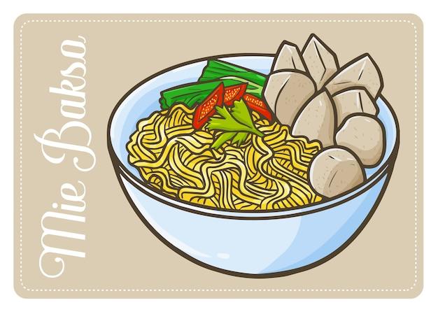 キュートで面白いインドネシア料理「三重バクソ」またはミートボール。 javaの伝統的な食べ物。麺と一緒に食べる。小麦粉と多くのスパイスから作られています。