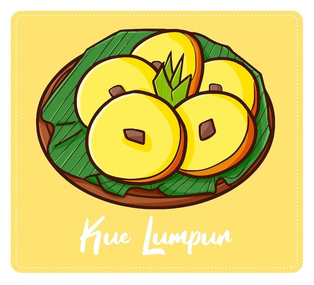 Симпатичная и веселая индонезийская закуска «куэ лумпур». традиционный желтый торт с западной явы. вкус такой сладкий и сладкий.