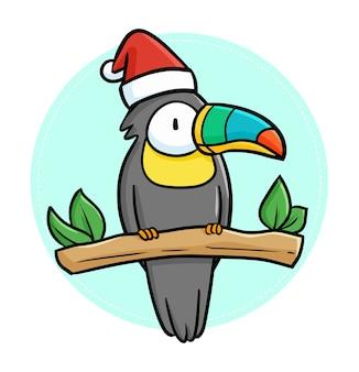 クリスマスにサンタの帽子をかぶったカラフルなくちばしを持つキュートで面白いかわいいblakc鳥 Premiumベクター