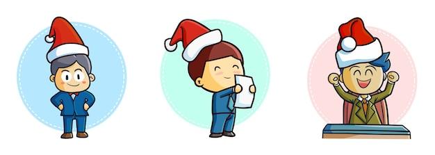 クリスマスにサンタの帽子をかぶってキュートで面白いカワイイビジネスマン
