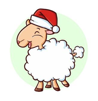 クリスマスにサンタの帽子をかぶって白い羊を笑うキュートで面白いカワイイ