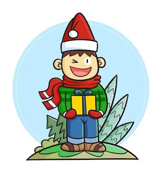 クリスマスプレゼントを持ってサンタの帽子をかぶってキュートで面白いカワイイ男