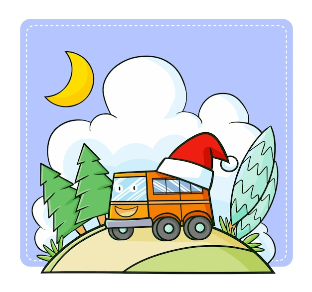 Милый и забавный каваи оранжевый автобус в шапке санты на рождество