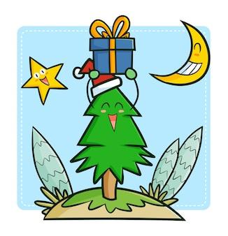 月と星でクリスマスを祝うキュートで面白いかわいい松の木