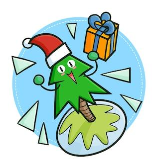 ギフトボックスを保持し、クリスマスにサンタの帽子をかぶってキュートで面白いかわいい松の木