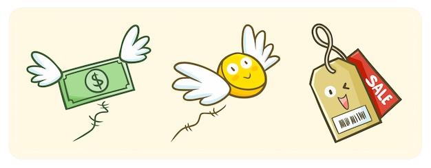 かわいくて面白いカワイイセールスタグは楽しく笑い、翼でお金を飛ばします。 Premiumベクター