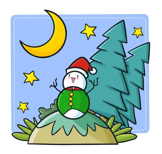 クリスマスにサンタの帽子をかぶって、幸せなクリスマスの夜を過ごしているキュートで面白いかわいい雪だるま