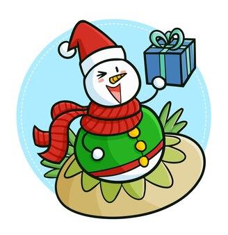 クリスマスにサンタの帽子をかぶってギフトボックスを持っているキュートで面白いかわいい雪だるま