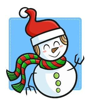 クリスマスにサンタの帽子をかぶってキュートで面白いかわいい雪だるま