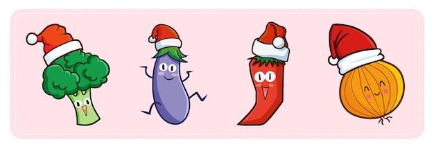 Симпатичные и забавные овощи в стиле каваи в шапке санты на рождество