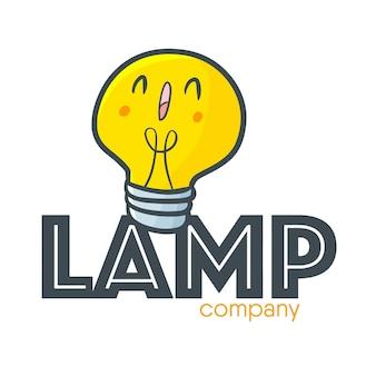 램프 상점 또는 회사를위한 귀엽고 재미있는 로고 템플릿 프리미엄 벡터