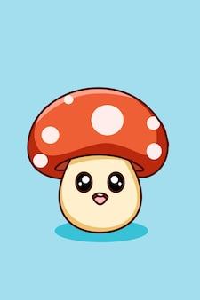 귀엽고 재미있는 버섯 만화 일러스트 레이션