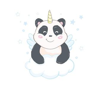 Симпатичный и забавный шаблон стикера пандакорн