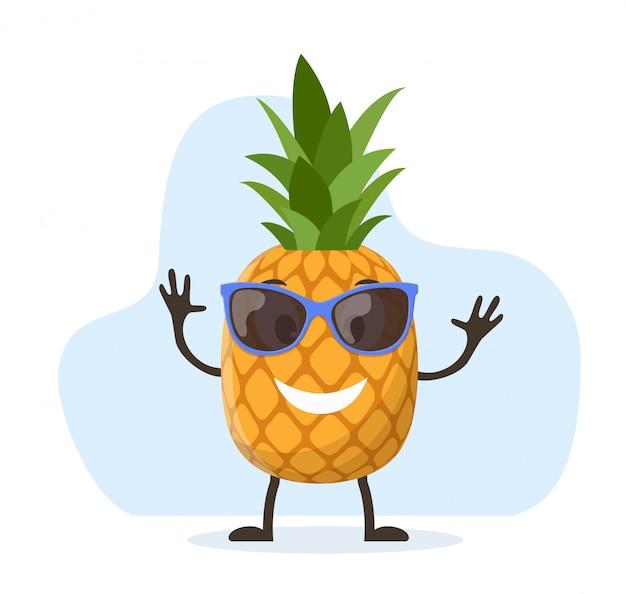 キュートで面白いパイナップルキャラクター
