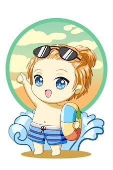 Милый и красивый маленький мальчик плавает в летнем дизайне персонажа из мультфильма