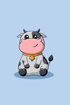 귀엽고 행복한 소 동물 만화 일러스트 레이션