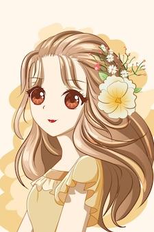 Милая и счастливая девушка с цветами корона дизайн персонажа карикатура иллюстрации
