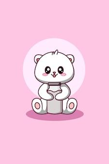 Милый и счастливый белый медведь с иллюстрацией шаржа животного молока