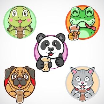 Симпатичные и каваи животные пьют боба логотип векторные иллюстрации