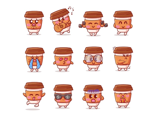 마스코트에 대한 다양한 활동과 표현으로 귀여운 카와이 커피 컵 스티커 일러스트 세트