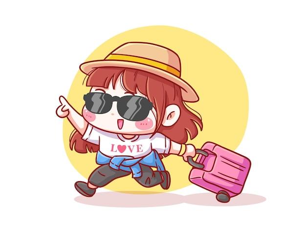 Милая и каваи взволнованная девушка приносит чемодан для праздника манга чиби иллюстрация