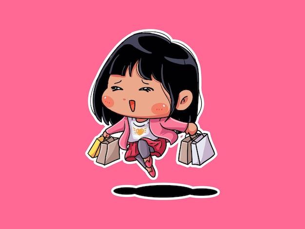 Милая и каваи взволнованная девушка-шопоголик держит сумку для покупок манга чиби иллюстрация
