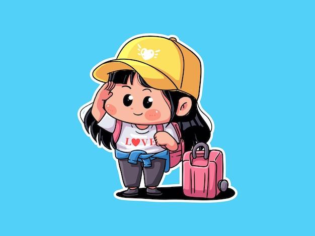 Милая и кавайная взволнованная девушка-путешественница приносит чемодан для праздника манга чиби иллюстрация