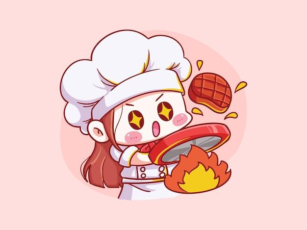 귀엽고 kawaii 여성 요리사 요리 고기 만화 치비 일러스트