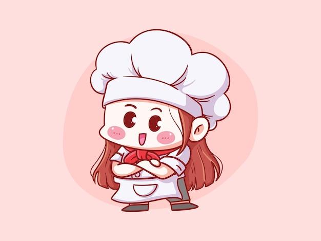 Симпатичные и каваи женский шеф-повар скрещенными руками манга чиби иллюстрации