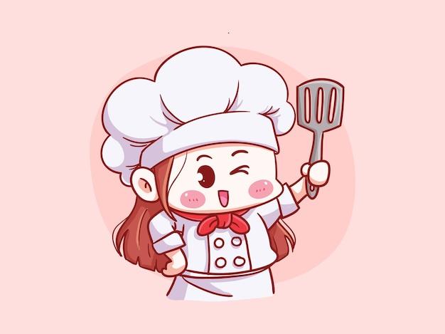 Симпатичный и каваий женский шеф-повар держит шпатель манга чиби иллюстрации