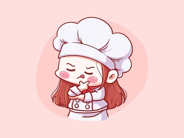 귀엽고 귀여운 여성 요리사 생각 포즈 만화 치비 일러스트