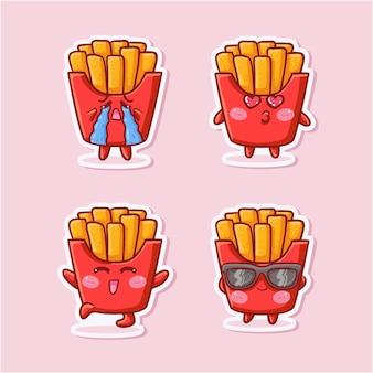 다양한 활동과 표정으로 귀엽고 귀여운 감자 튀김 스티커 세트