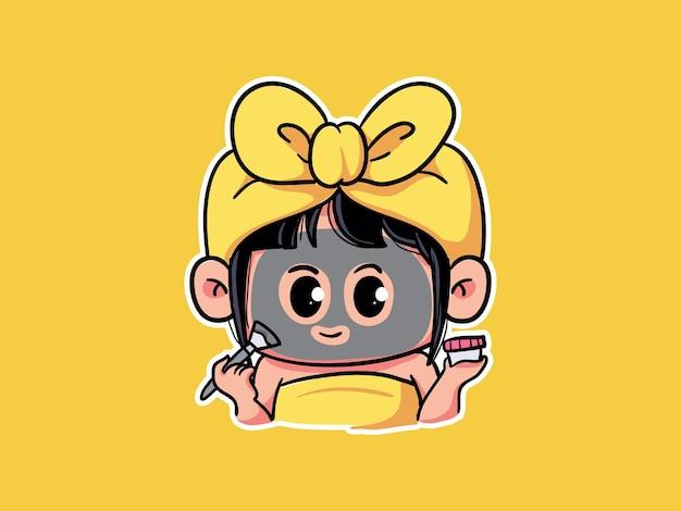 キュートでカワイイ女の子がスキンケアにブラッククレイマッドマスクを適用ルーチンのマンガちびイラスト