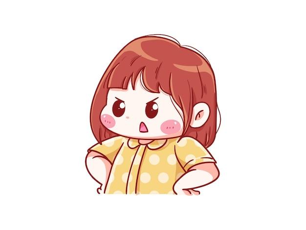 화난 표정으로 불평하는 귀엽고 귀여운 소녀 만화 치비
