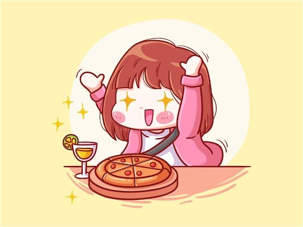 Милая и кавайная девушка в восторге от еды манга чиби