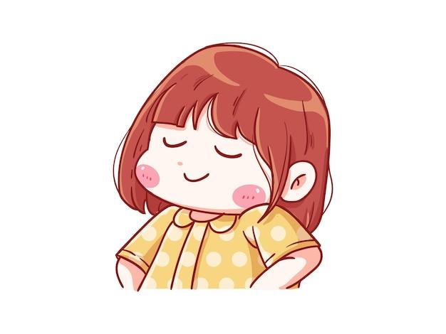 귀엽고 귀여운 소녀 자랑스러운 포즈 만화 치비
